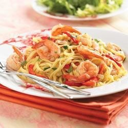 Shrimp and Sweet Red Pepper Linguine Recipe