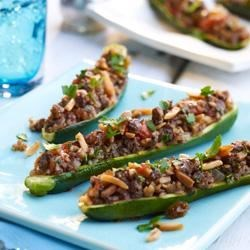 Beef and Almond Stuffed Zucchini Boats Recipe