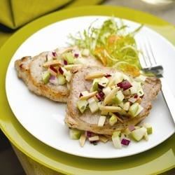 Grilled Pork Chops with Apple-Almond Salsa Recipe