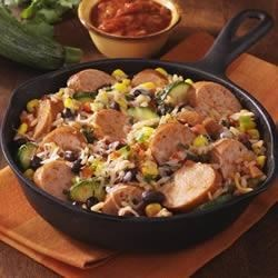 Southwest Chicken Smoked Sausage Skillet Recipe