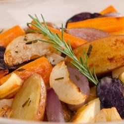 Becel(R) Garlic and Rosemary Roasted Root Vegetables Recipe