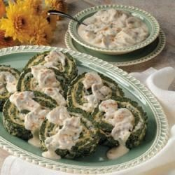 Photo of Spinach Spirals with Mushroom Sauce by Mrs.  Archie Potts