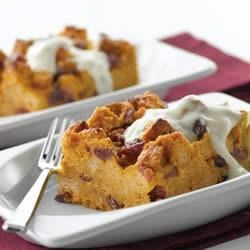 Pumpkin Bread Pudding with Brown Sugar-Yogurt Sauce Recipe