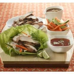 Thai Lettuce Wraps with Satay Pork Strips