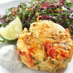 Crab Cakes with Coleslaw and Lime Dill Yogurt Sauce