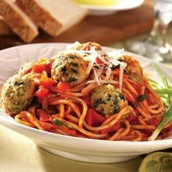 Photo of Baked Turkey Meatballs and Garden Spaghetti by Crisco® Pure Olive Oil