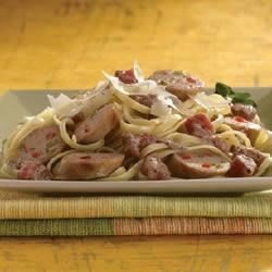 ... Italian Chicken Sausage with Tomato Cream Sauce Over Linguine Recipe