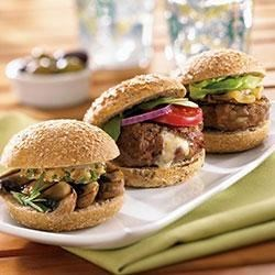 Beef Sliders Stuffed with Walnuts and Gorgonzola
