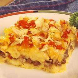 Four Layer Hamburger and Macaroni Casserole Recipe