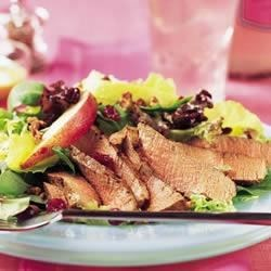 Photo of Tenderloin, Cranberry and Pear Salad with Honey Mustard Dressing by Beef. It's What's for Dinner.