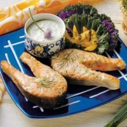 Photo of Salmon with Chive Mayonnaise by Taste of Home Test Kitchen