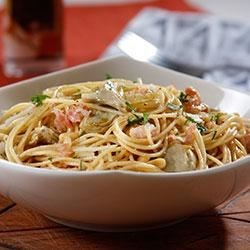Spaghetti with Roasted Artichokes, Pine Nuts and Golden Raisins Recipe