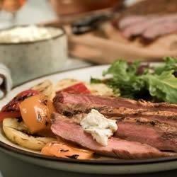 Chipotle Flank Steak with Creamy Cilantro Sauce Recipe