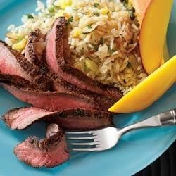 Caribbean Flank Steak with Coconut Rice Recipe
