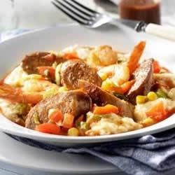 Hot Italian Sausage and Shrimp with Asiago Grits Recipe