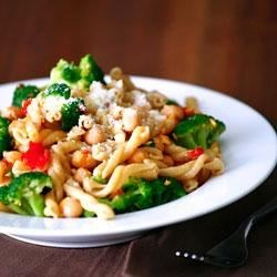 Photo of Whole Wheat Gemelli with Broccoli, Chickpeas and Hot Pepper Garlic Sauce by DeLallo Foods