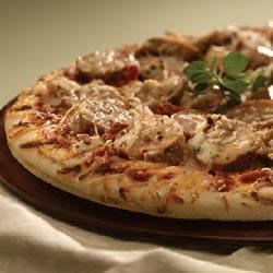 Grilled Mediterranean Greek Pizza with Sundried Tomato Chicken Sausage