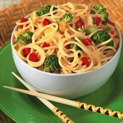 Broccoli Noodle Salad with Asian Peanut Citrus Sauce Recipe