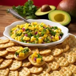Town House(R) Crackers with Avocado and Mango Salsa Recipe