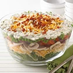 Layered Summer Salad from KRAFT(R) Shredded Cheese Recipe