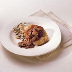 HERB-OX(R) Bouillon Pork Chops with Burgundy Mushroom Sauce Recipe