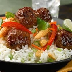 Photo of Basmati and Snow Pea Stir Fry with Teriyaki Chicken Meatballs by al fresco all natural