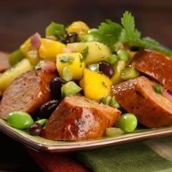 Spicy Jalapeno Chicken Sausage with Mango, Pineapple Salsa Recipe