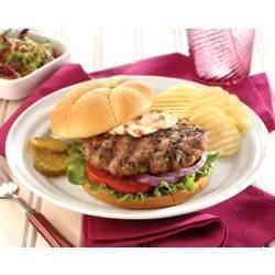 Grilled Turkey Burger with Roasted Red Pepper Mayonnaise Recipe