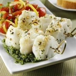 Photo of Skewered Sea Bass with Spinach Pesto and Mango Salsa by Bertolli Olive Oil