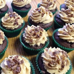 Devils Food Cupcake with Fluffy Peanut Butter Frosting and topped with Chocolate curls