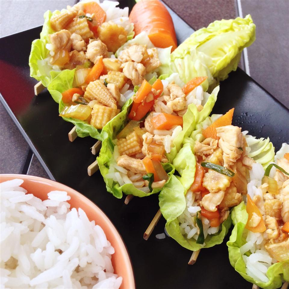 Asian Chicken and Rice Lettuce Wraps