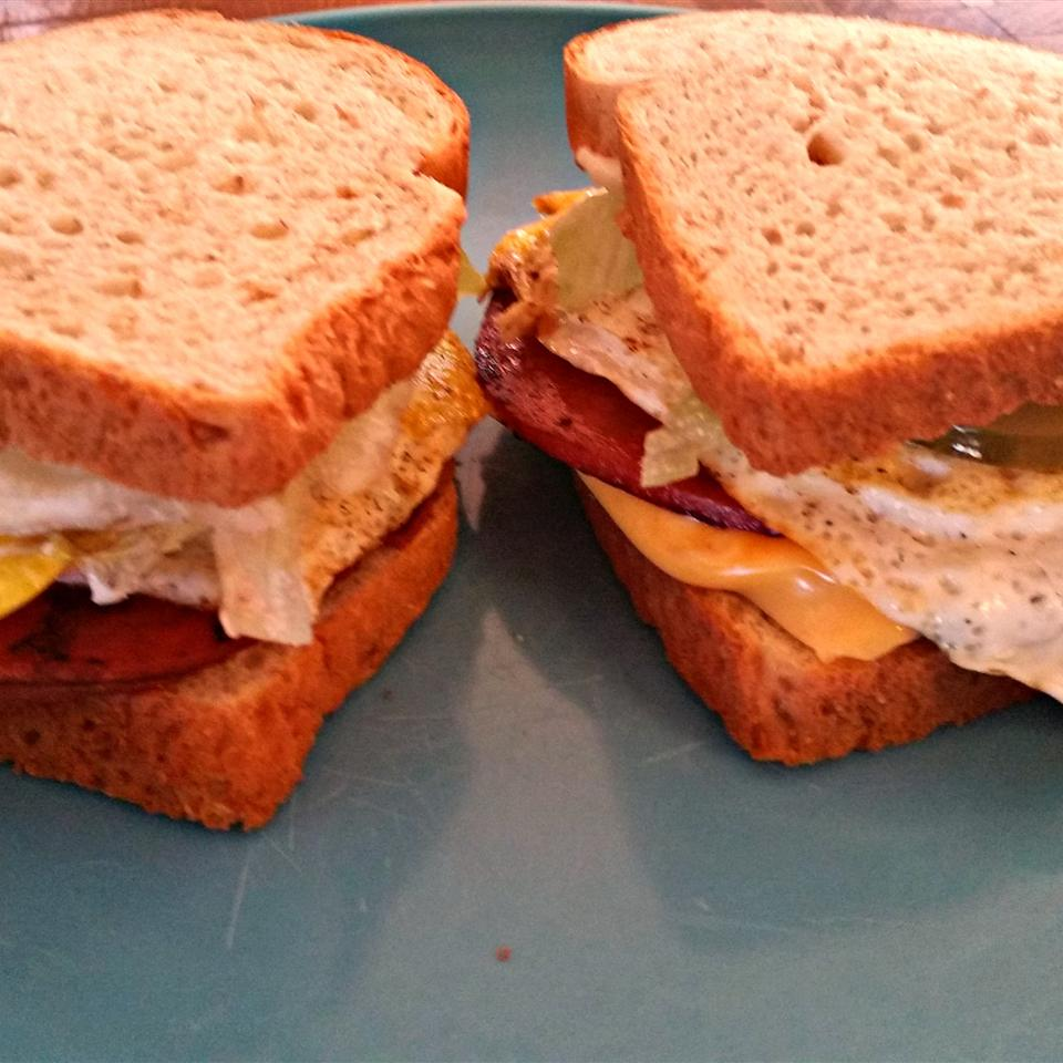 Kevin's Toasted Honey Wheat Berry Bologna and Egg Sandwich Kevin McRae