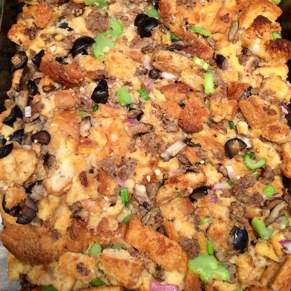 Black Olive, Mushroom, and Sausage Stuffing