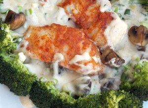 Pan-Seared Cod, Broccoli, and Mushrooms with Creamy Alfredo Sauce