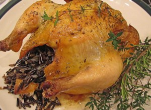 Game Hen Stuffed with Wild Rice and Mushrooms
