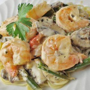 Shrimp and Mushroom Linguini with Creamy Cheese Herb Sauce