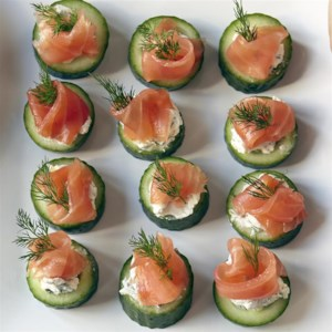 Cucumber Cups with Dill Cream and Smoked Salmon