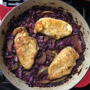 Oktoberfest recipes allrecipes oktoberfest chicken and red cabbage recipe tender chicken thighs are baked with red cabbage forumfinder Image collections