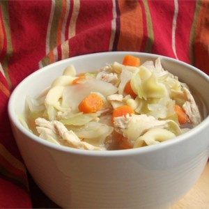 Thai Chicken Cabbage Soup Recipe - This is a low-fat, low-cal soup that's incredibly filling and delicious.  I eat this at least once a week!  I don't know how it tastes cold, though. Don't be afraid to vary the proportions of various foods on your own!