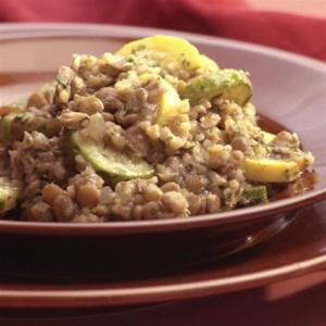Lentil & Bulgur Pilaf with Green & Yellow Squash