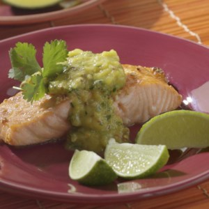 Salmon with Roasted Chile-Mango Sauce