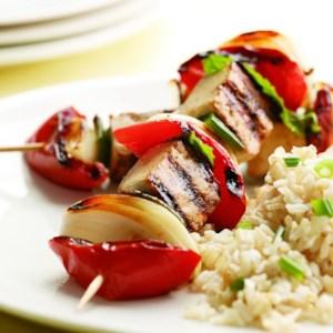 Minted Tomato, Onion & Glazed Tofu Kebabs