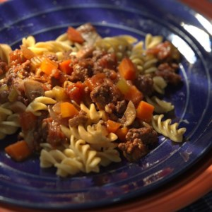 Whole-Wheat Fusilli with Beef Ragu