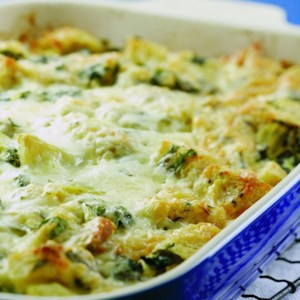 Arugula & Chicken Sausage Bread Pudding