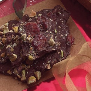 Chocolate Bark with Pistachios & Dried Cherries