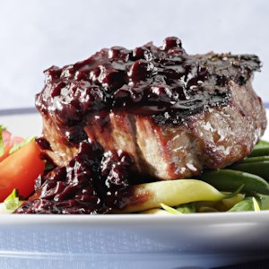 Filet Mignon with Blueberry-Bourbon Barbecue Sauce