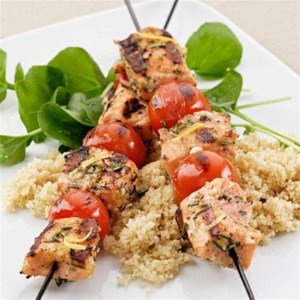Grilled Rosemary-Salmon Skewers