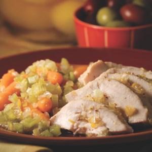 Roast Chicken with Preserved Lemon & Braised Vegetables