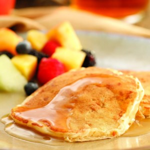 Apple-Bacon Pancakes with Cider Syrup