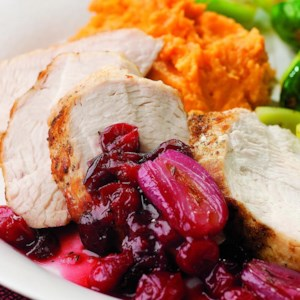 Turkey Tenderloin with Cranberry-Shallot Sauce